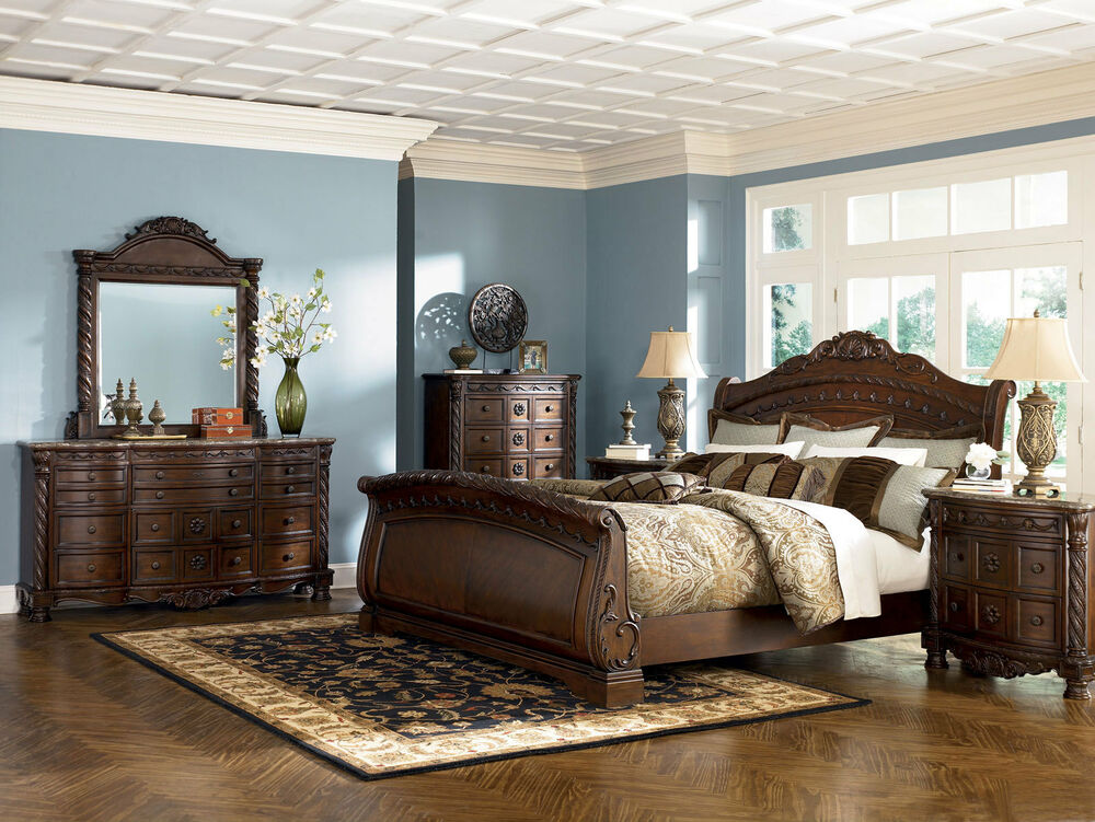 Ashley Furniture B553 North Shore Queen Or King Sleigh Bed Frame Bedroom Set Ebay