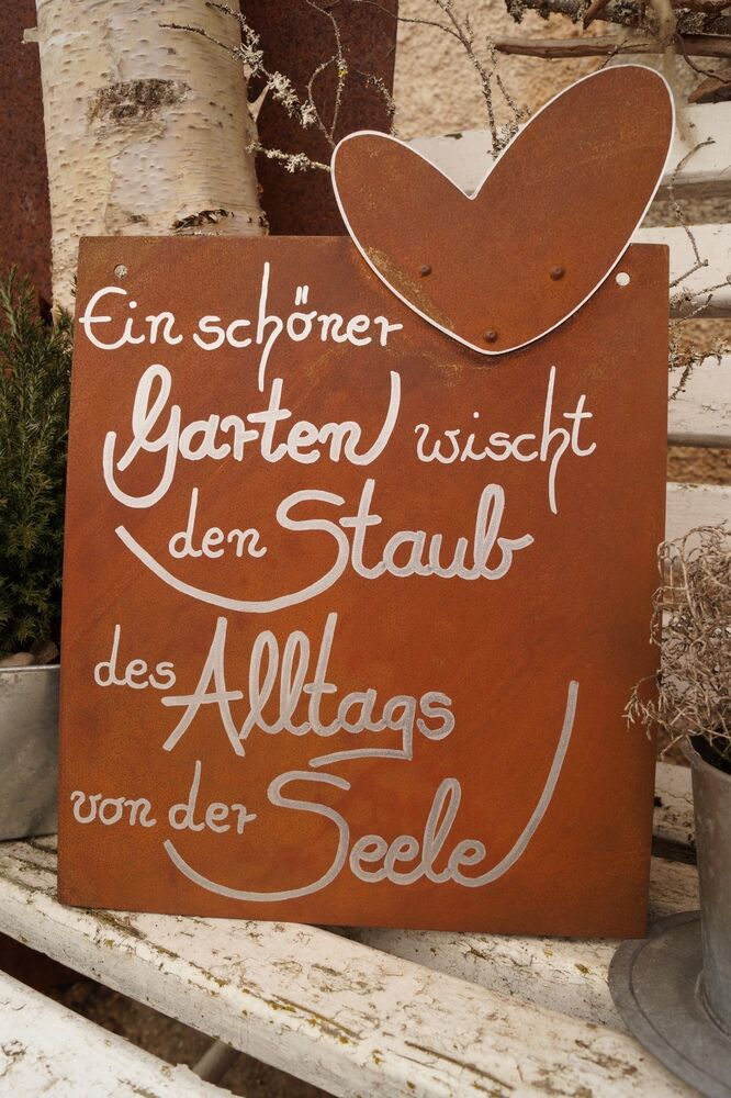 edelrost tafel mit herz alltag gartendeko schild gedichttafel spruch text ebay. Black Bedroom Furniture Sets. Home Design Ideas