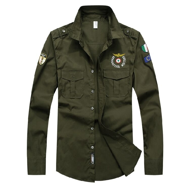 Men 39 s army tactical military epaulet casual shirts button for Button down uniform shirts
