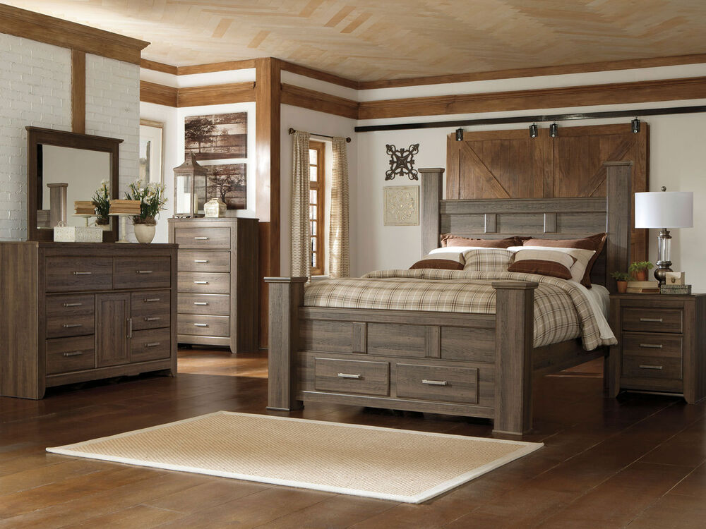 Ashley Furniture B251 Juararo Modern Queen King Poster Storage Bed Bedroom Set Ebay