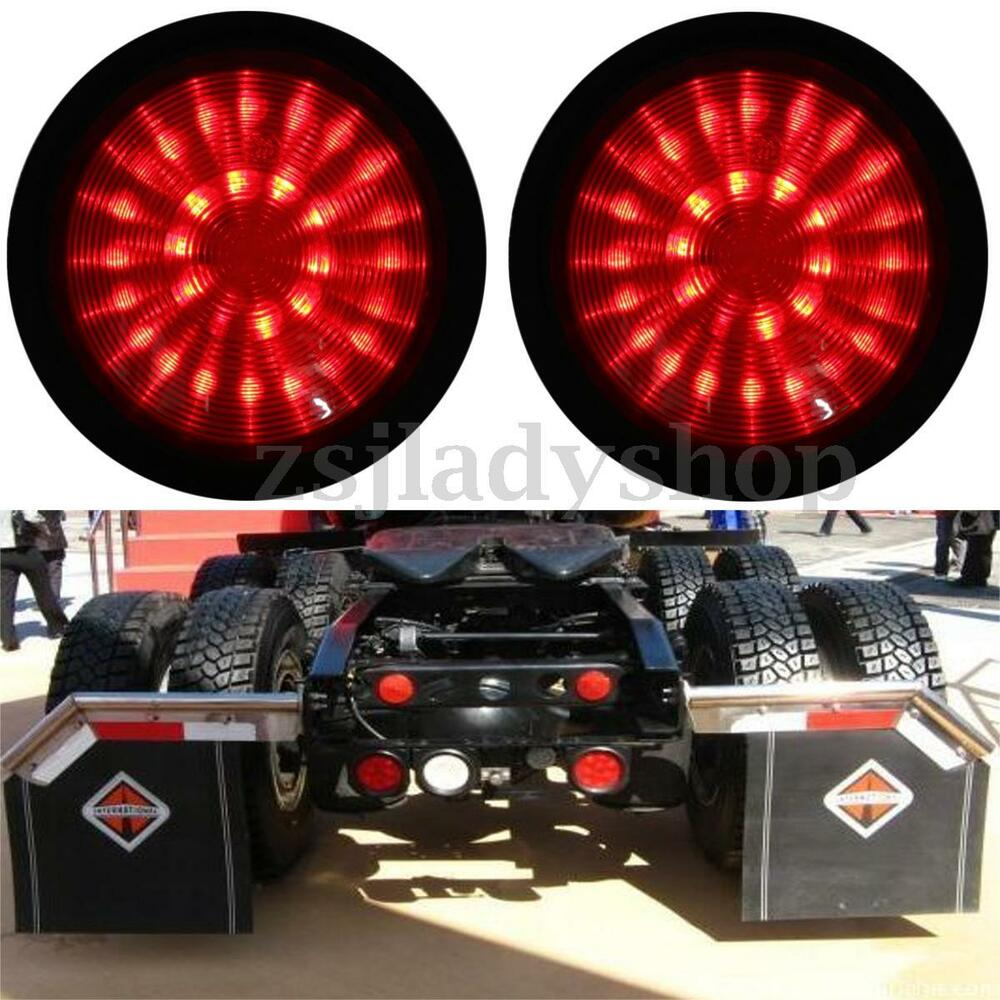 2x 12v Red Led Round Rear Lamp Tail Stop Brake Light