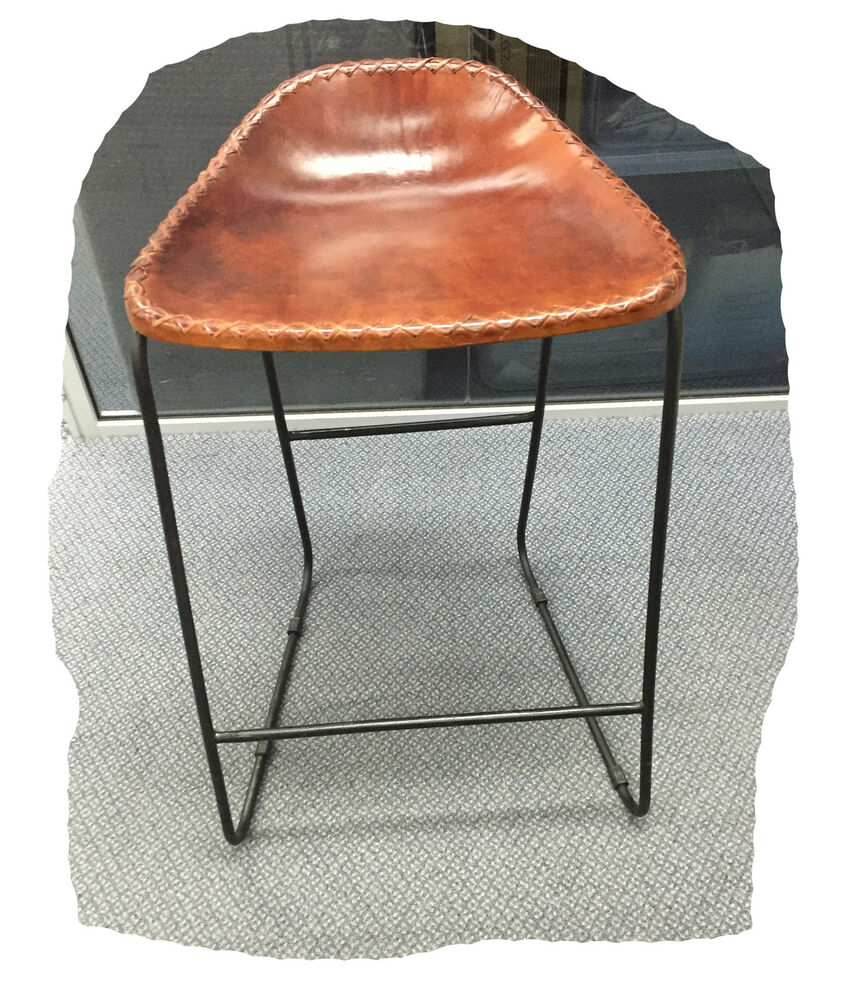 Freddy Rustic Light Brown Leather 640mm Bar Stool On Black