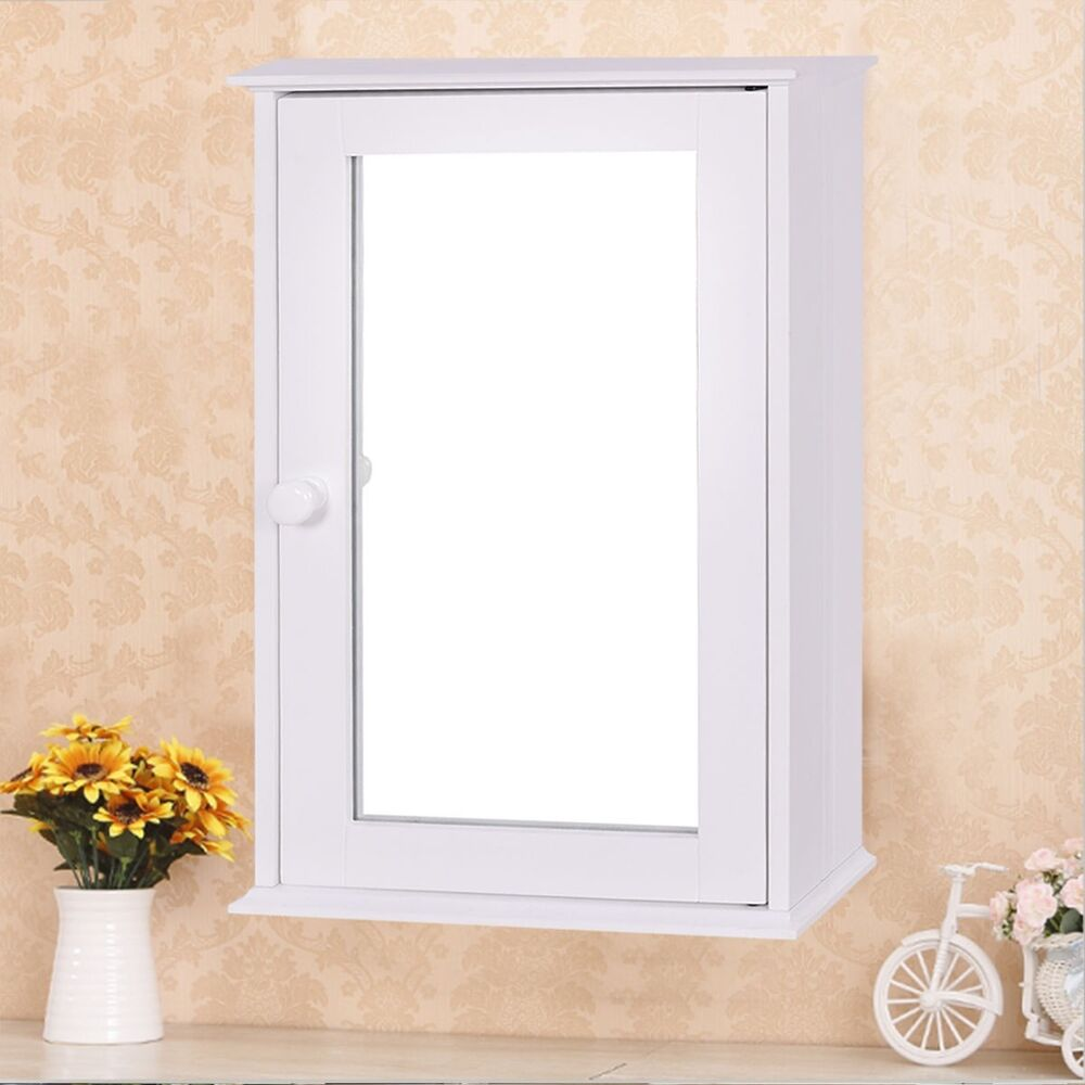 White bathroom wall cabinet with single mirror door - Mirror with storage for bathroom ...
