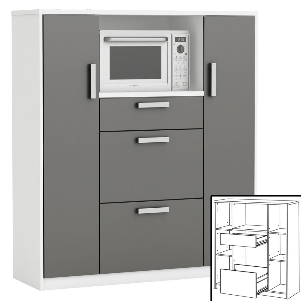 k chenschrank 8540 schrank k chenregal k chenm bel mikrowelle buffet k che wei ebay. Black Bedroom Furniture Sets. Home Design Ideas