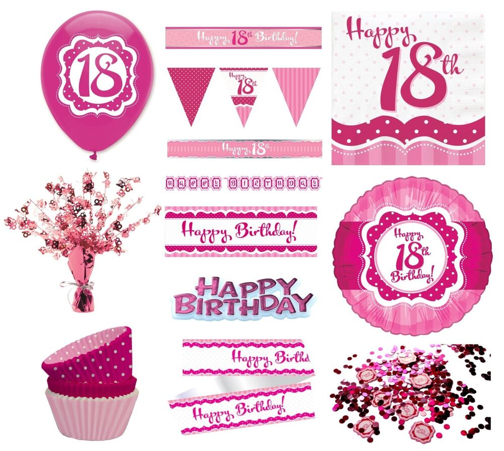 PERFECTLY PINK Girl Age 18 Happy 18th Birthday PARTY ITEMS
