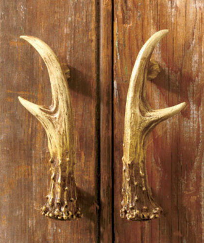set of 2 rustic deer antler cabinet door pull handle lodge 87946