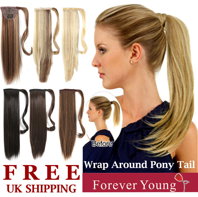 Clip In Ponytail Hair Extension Wrap On Pony Thick Hair
