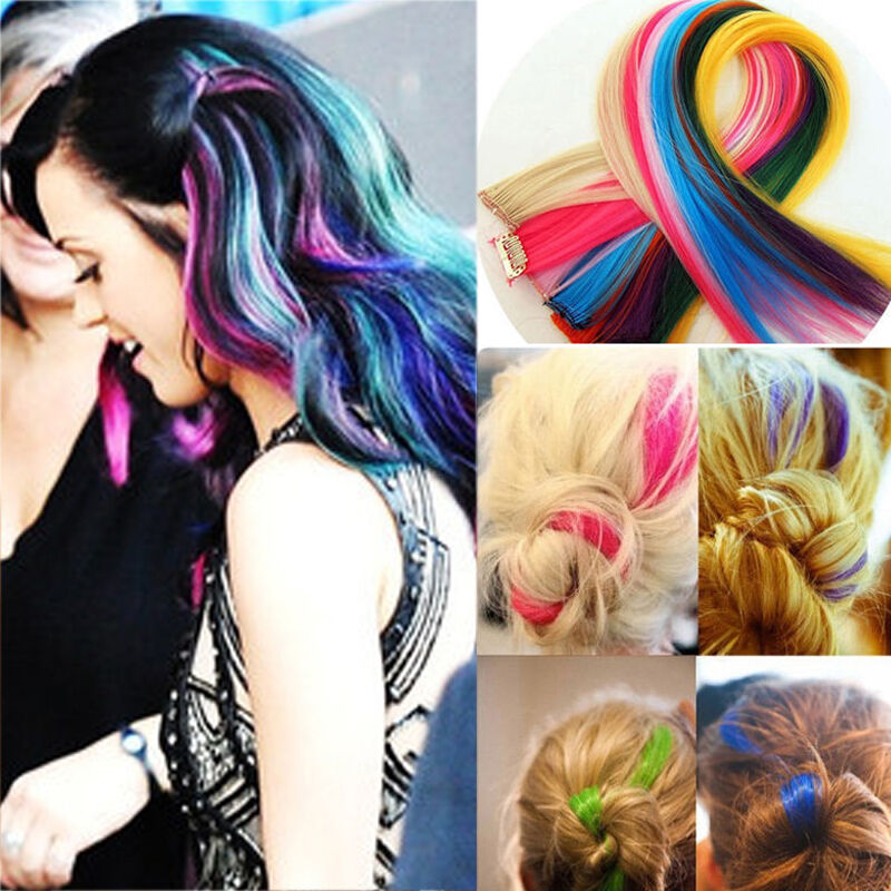 New Coloured Colorful Highlights Clip On In Hair Extension Synthetic