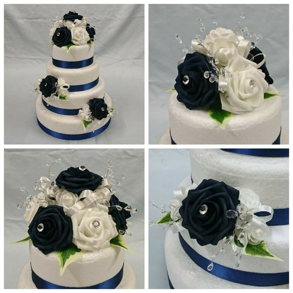 navy blue wedding cake wedding flowers cake topper flowers decoration package 17774
