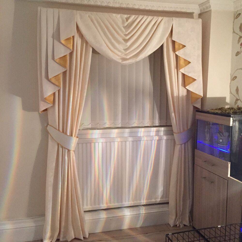 Designer Curtains Swag Tails Cream Gold Other Colours