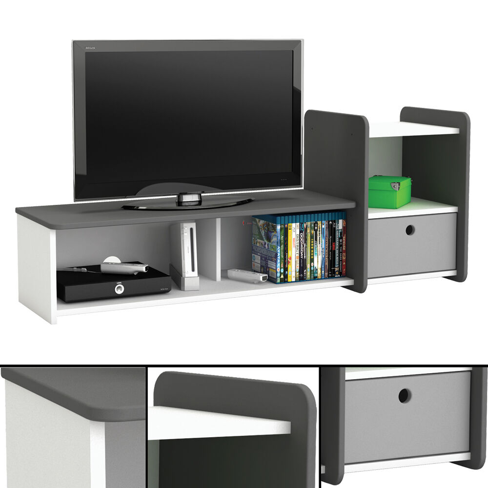 tv bank foot 610 wei anthrazit tv tisch phonom bel hifi schrank kinderzimmer ebay. Black Bedroom Furniture Sets. Home Design Ideas