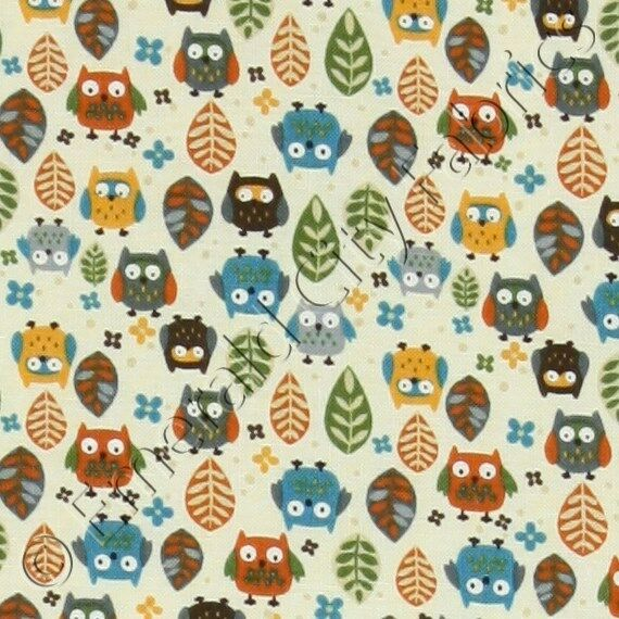 Timeless treasures mini owls cream baby quilting quilt for Baby fabric by the yard
