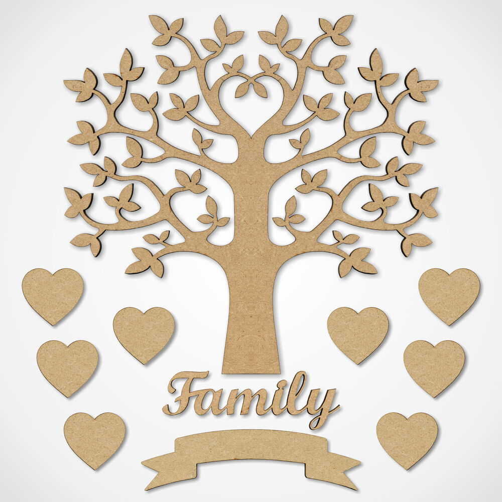 Mdf family tree set kit with tree hearts and word wooden for Plain family tree template