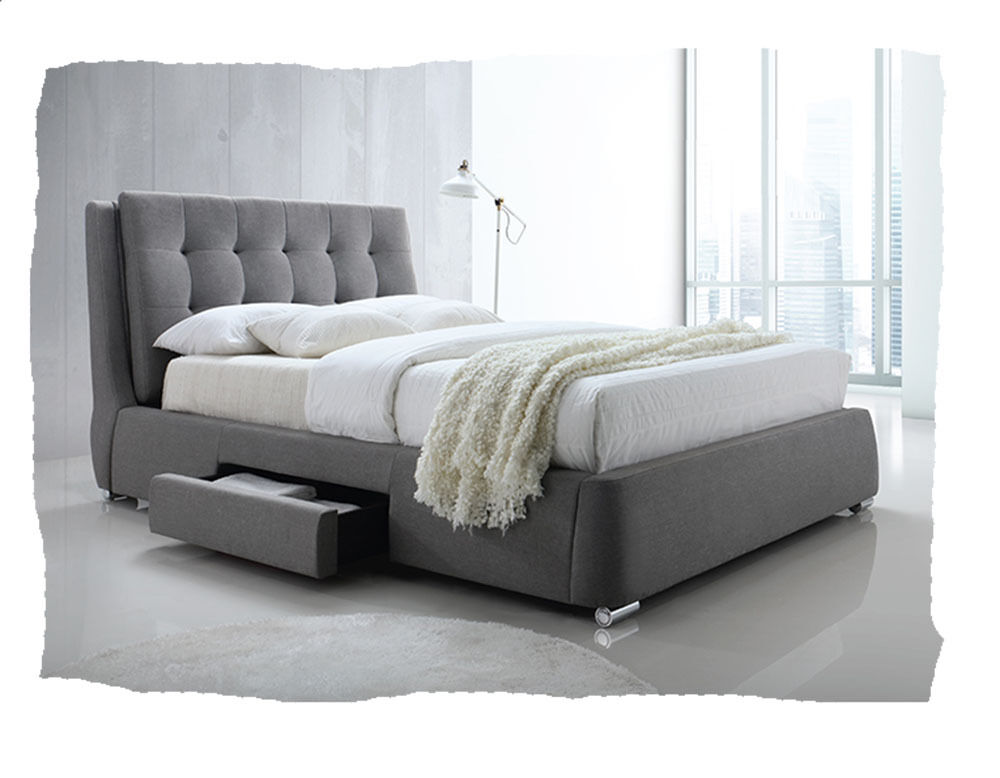 Byron grey fabric upholstered king size bed with storage for Fabric bed frame with storage