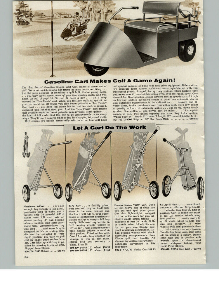 Details About 1957 Paper Ad Lou Farris Gas Gasoline Engine Golf Cart 50 Mpg 3 Wheels