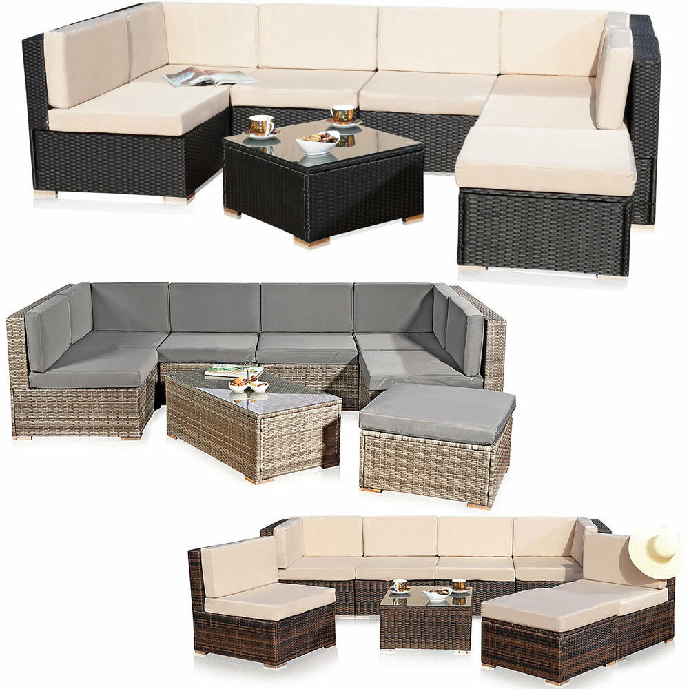 sitzgruppe xxl rattanm bel gartenset polyrattan lounge gartenm bel grau braun ebay. Black Bedroom Furniture Sets. Home Design Ideas