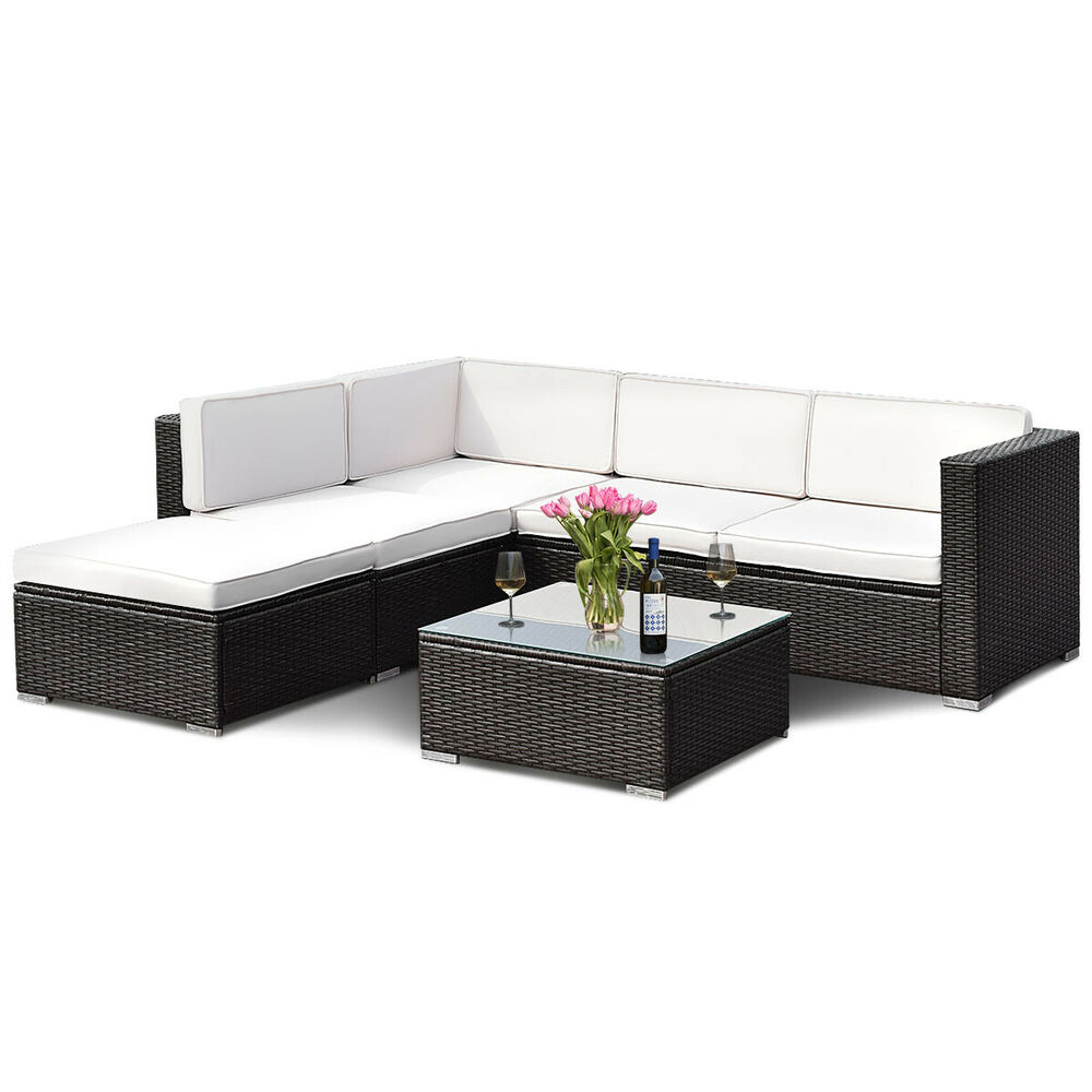 4 pcs outdoor patio rattan wicker furniture set loveseat. Black Bedroom Furniture Sets. Home Design Ideas
