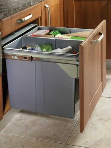 Kitchen Cabinet Waste Bins: 90 LTR RECYCLE BIN PULL OUT KITCHEN INTEGRATED 600MM BASE