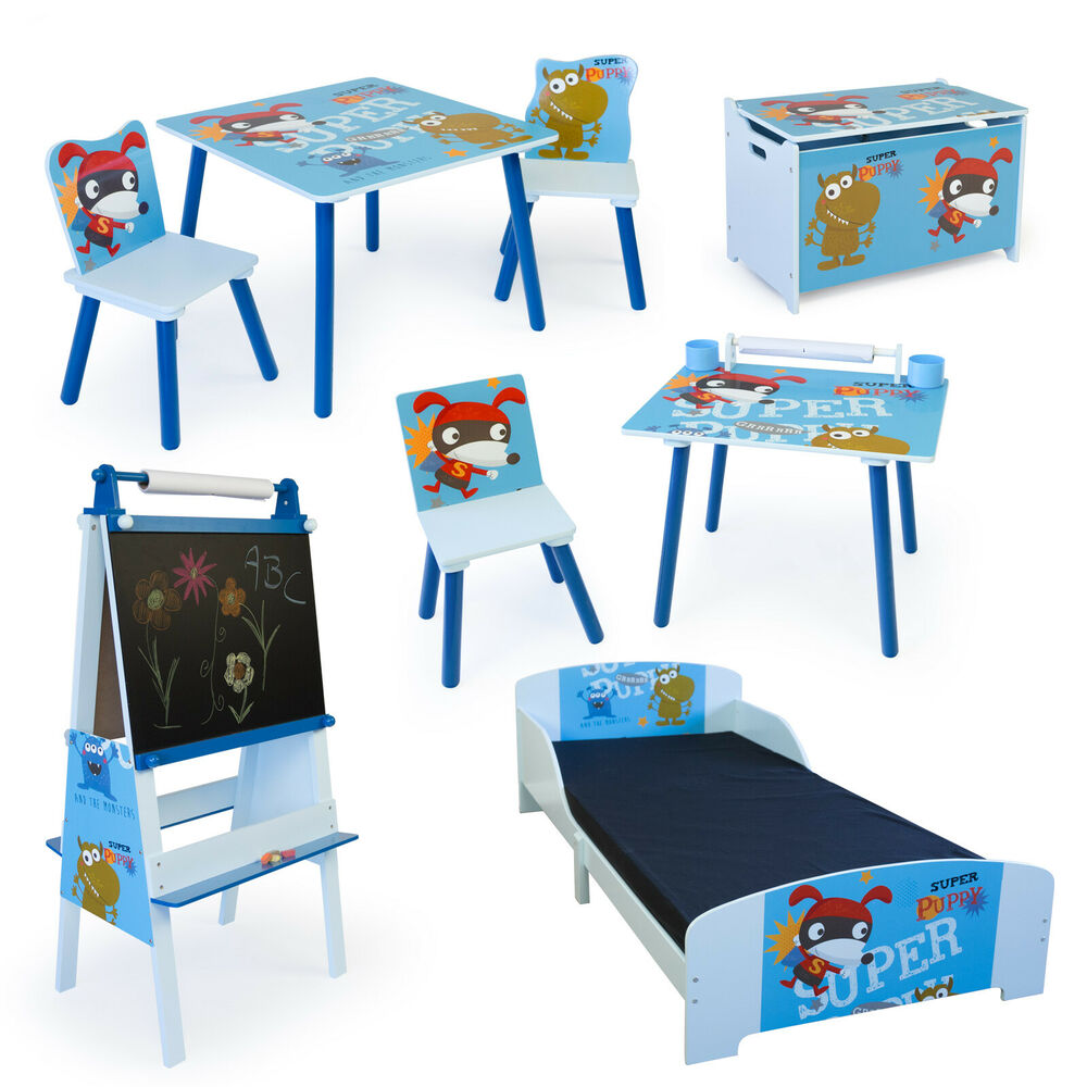 kinderm bel kinderzimmer m bel sitzgruppe spielzeugkiste tafel kommode puppy ebay. Black Bedroom Furniture Sets. Home Design Ideas