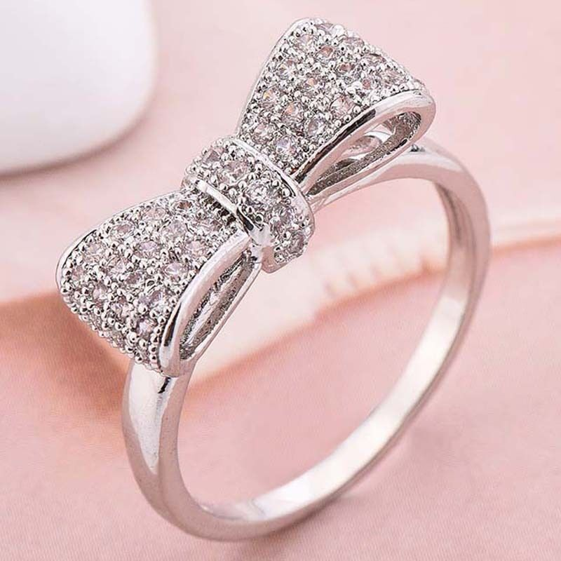 wedding ring necklace women fashion 925 silver white sapphire bow ring wedding 9968