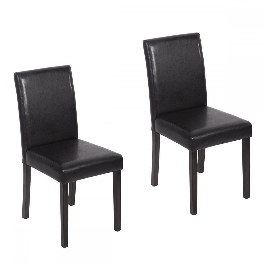 black leather dining room chairs | Set of 2 Black Leather Contemporary Elegant Design Dining ...