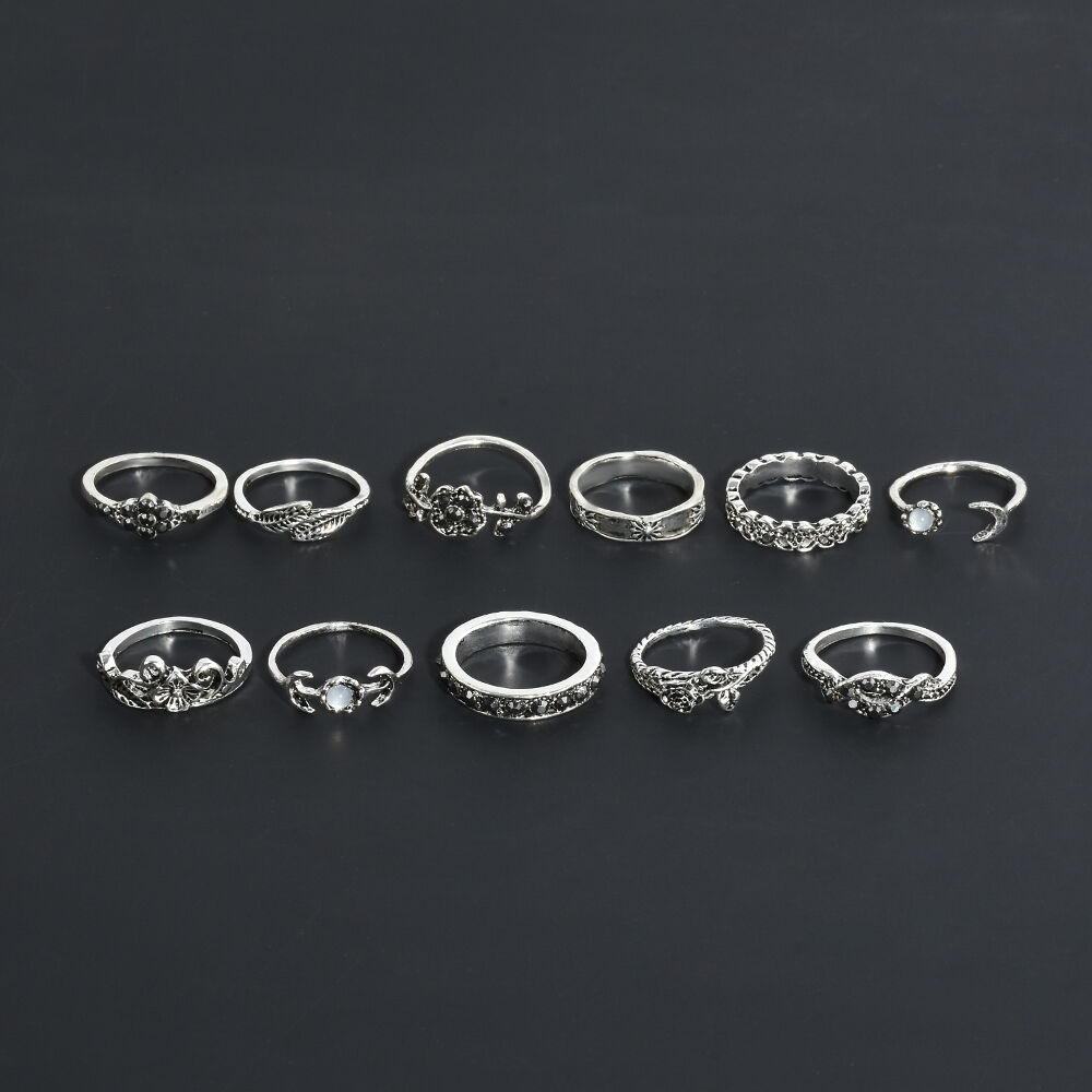 11pcs pack vintage silver ring boho arrow moon midi finger for Jewelry storm arrow ring