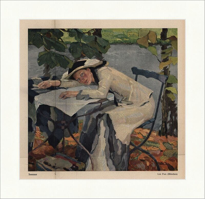 sommer leo putz fluss frau garten hut jugendstil jugend. Black Bedroom Furniture Sets. Home Design Ideas
