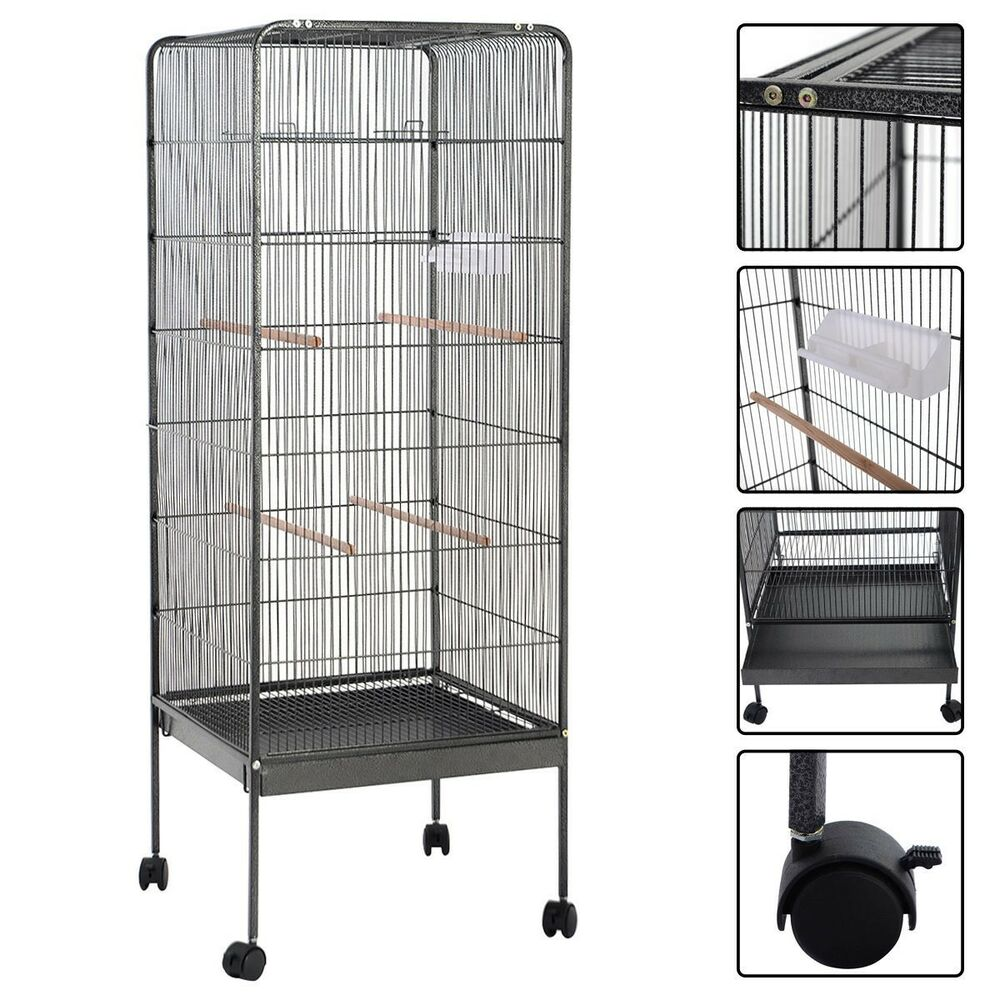 58 large play top parrot bird cage pet supplies w perch stand two doors flattop ebay. Black Bedroom Furniture Sets. Home Design Ideas