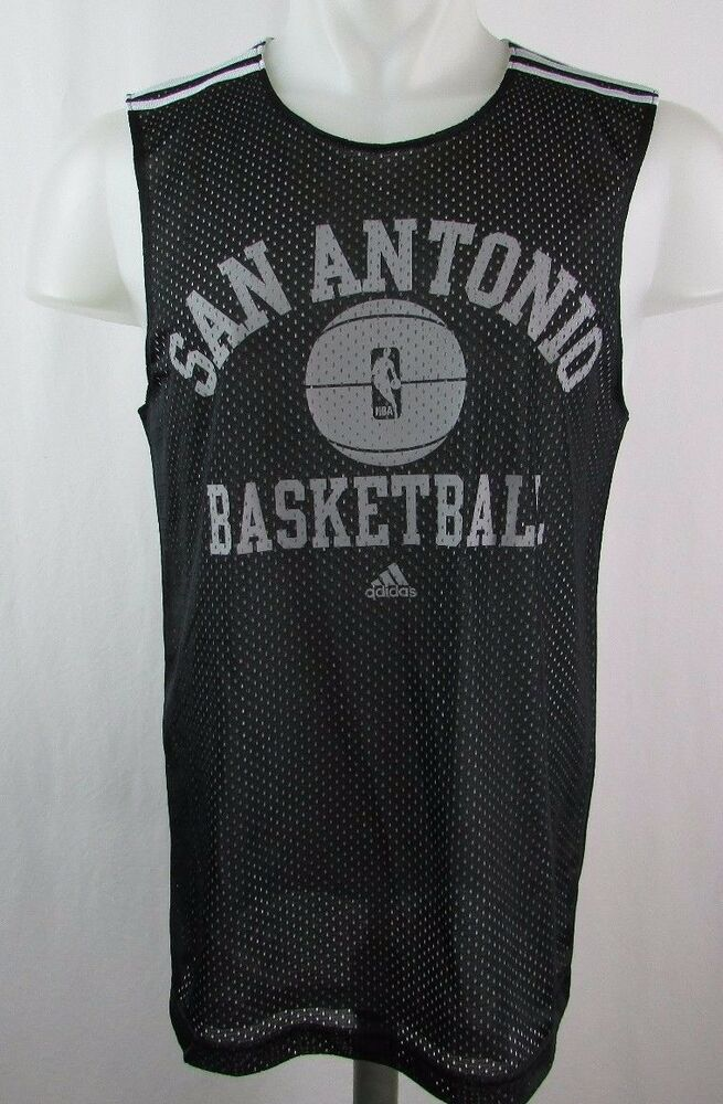 617afcfa2d66 San Antonio Spurs Men s Small Lined Mesh Practice Jersey NBA adidas Black  A8TRM