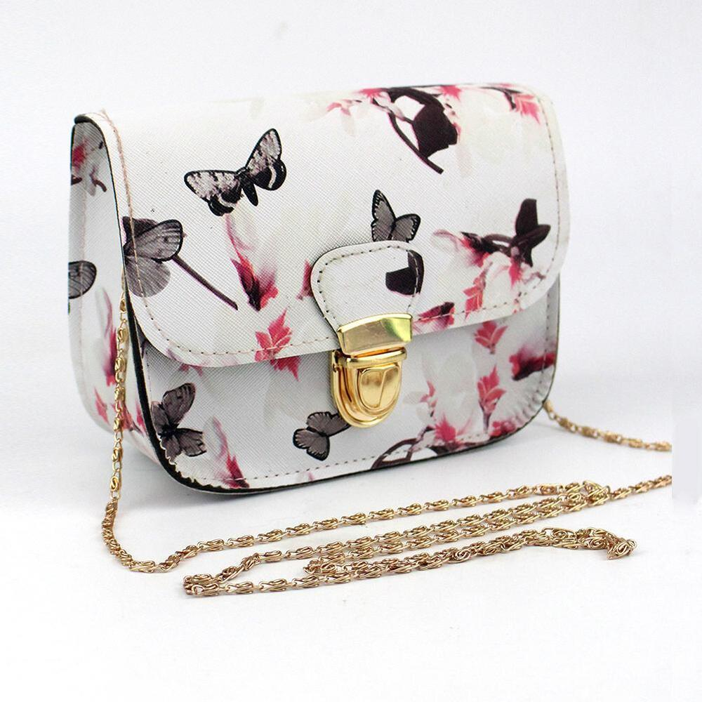 Women Lock Small Package Floral Butterfly Printing Small Mini Bags Chain Bag | EBay