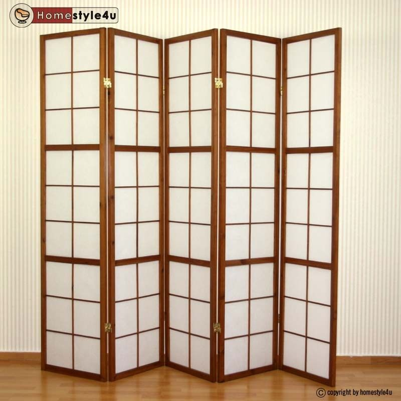 5 fach paravent raumteiler holz shoji wand tabak sichtschutz raumtrenner wand 4251285308855 ebay. Black Bedroom Furniture Sets. Home Design Ideas