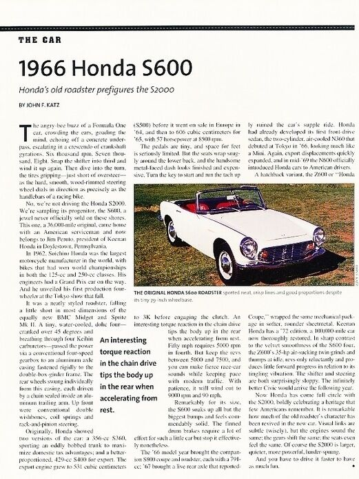 1966 Honda S600 Sport Roadster Original Car Review Print Article J607 | EBay