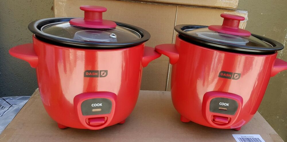 DASH 2 PIECE MINI RICE COOKER DRCM100RD RED COLOR. | eBay