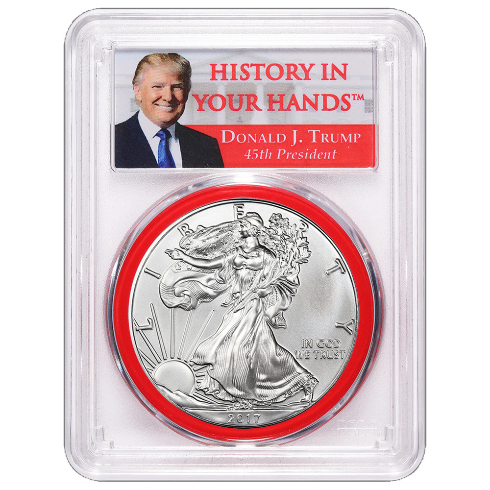 2017 $1 American Silver Eagle PCGS MS69 Donald Trump First