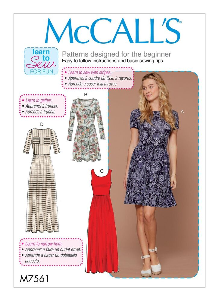 McCalls Easy SEWING PATTERN M7561 Misses Dresses,Learn To Sew For ...