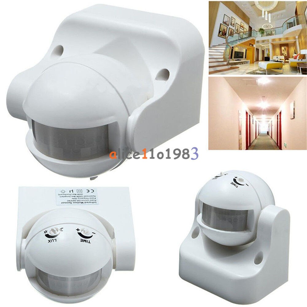 White Outdoor 180 176 Degree Security Pir Motion Movement