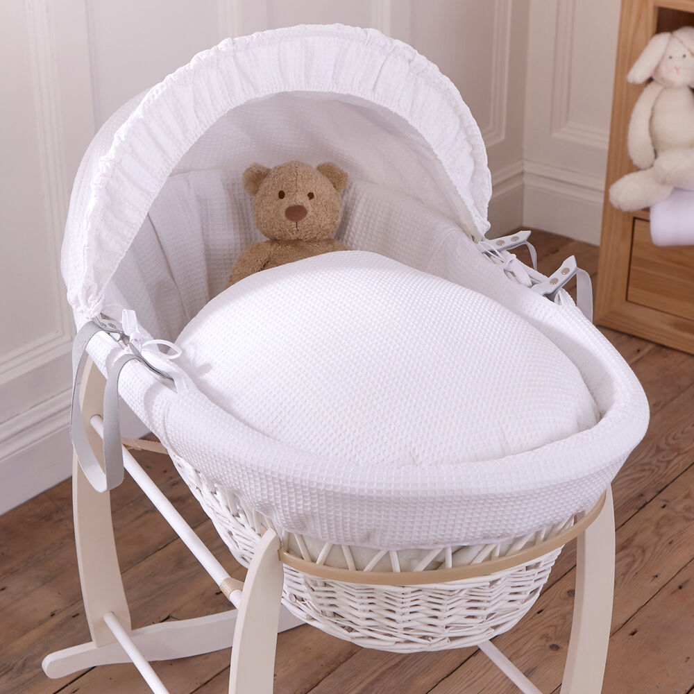 NEW CLAIR DE LUNE WHITE WAFFLE PADDED WHITE WICKER BABY ...