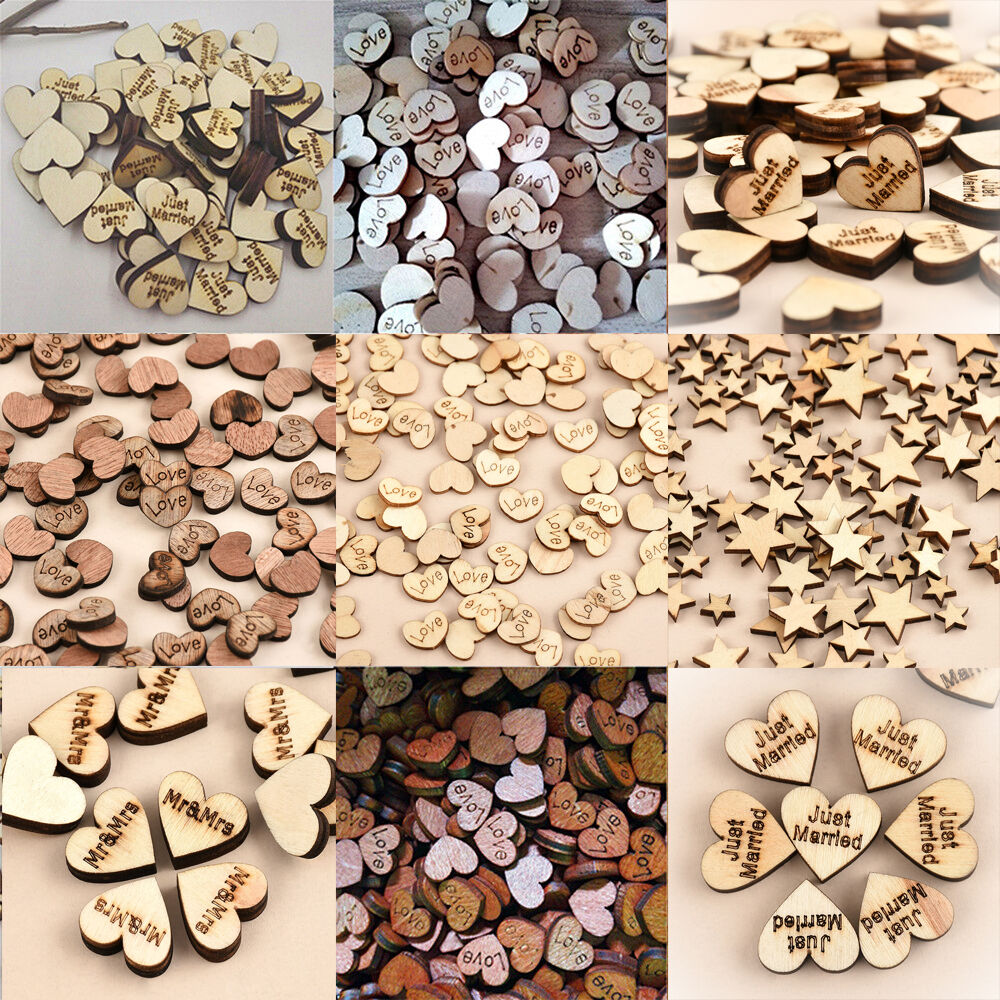 100pcs Rustic Wooden Wood Love Heart Wedding Table Scatter