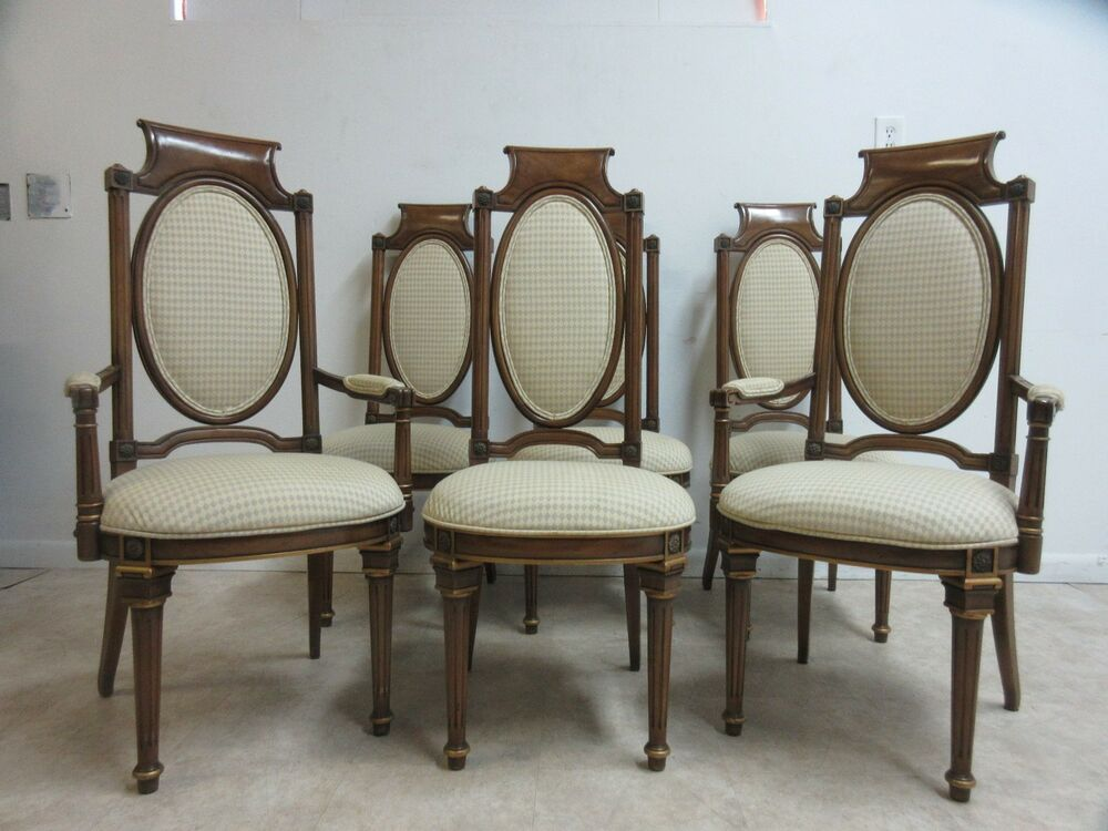 6 vintage french regency walnut mastercraft dining room for Regency dining room