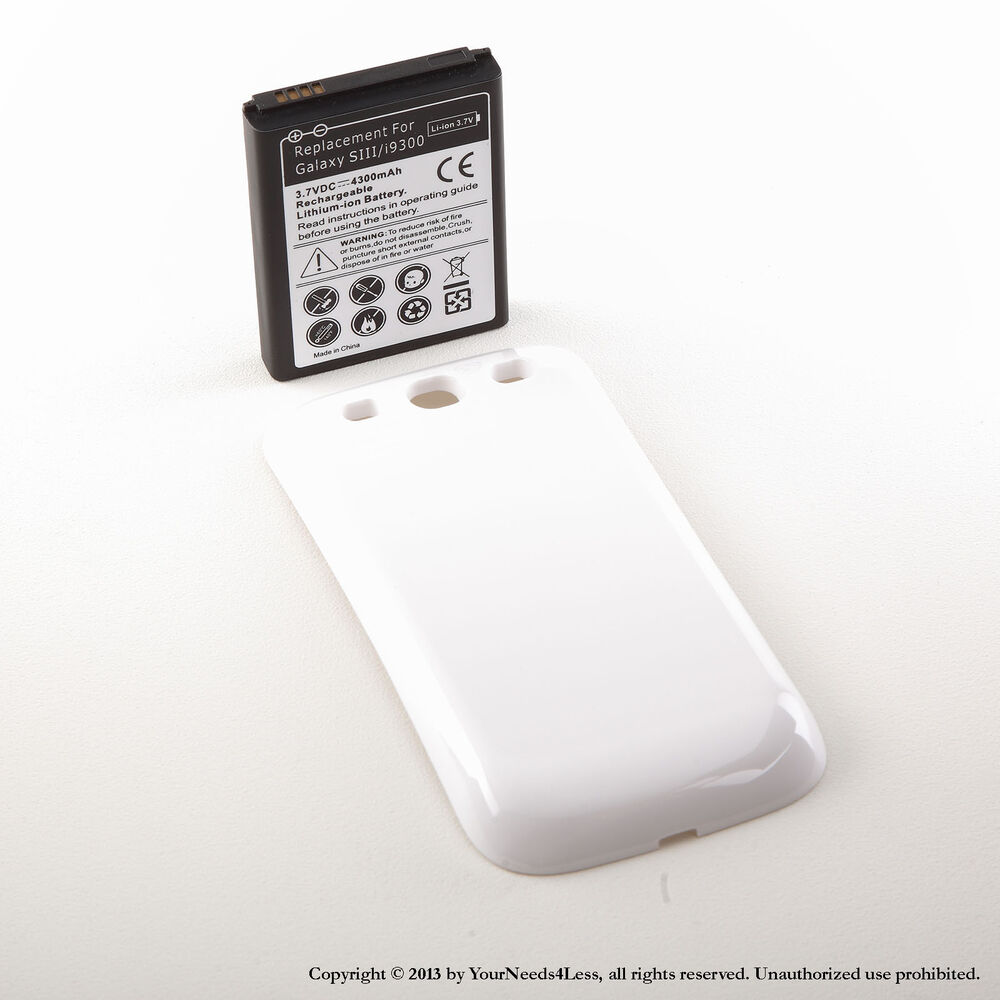 4300mah extended battery for samsung galaxy s3 white cover. Black Bedroom Furniture Sets. Home Design Ideas