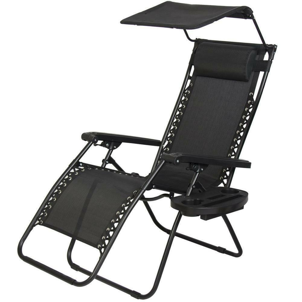 New Zero Gravity Chair Lounge Patio Chairs Outdoor with Canopy Cup Holder HO4