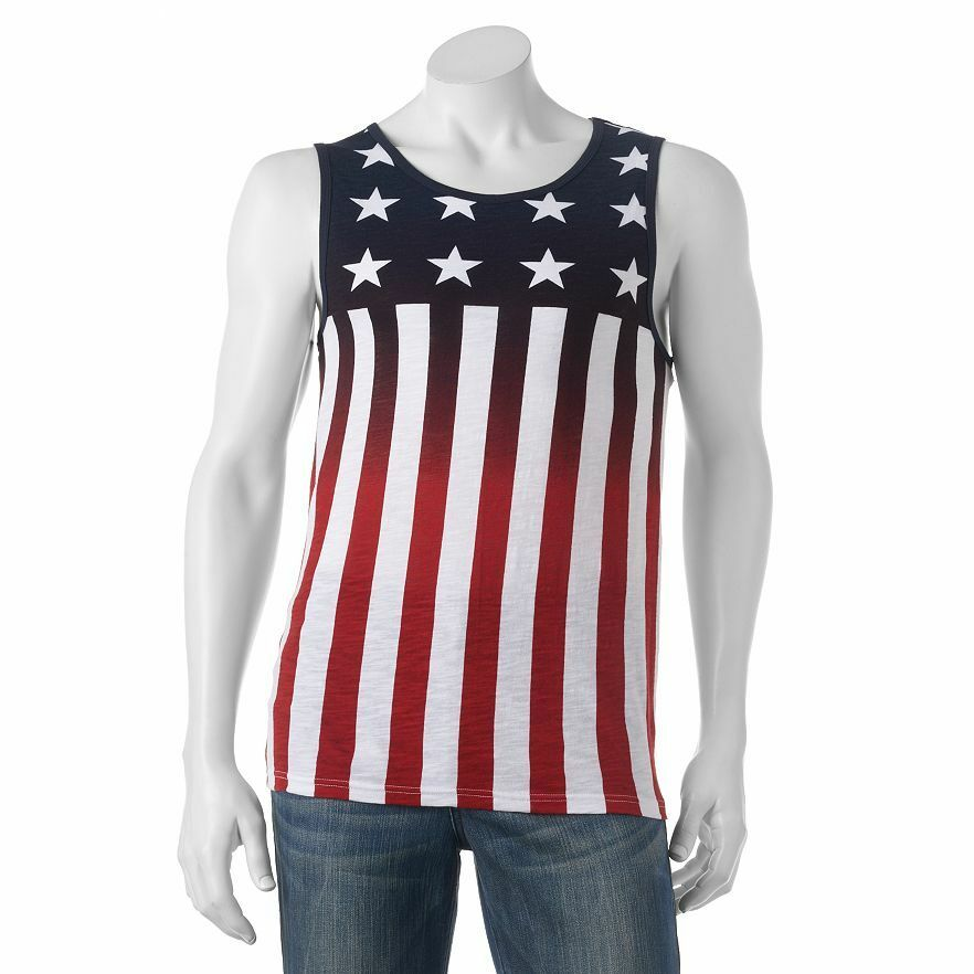 b7f629543fd2ce Details about Urban Pipeline Men s American Flag Print All Cotton Tank Top  NWT