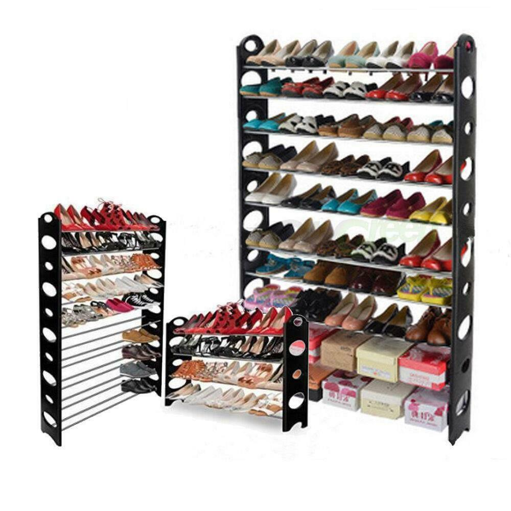 6 10 tier pairs space saving storage organizer free standing shoe tower rack ebay - Shoe storage small space pict ...