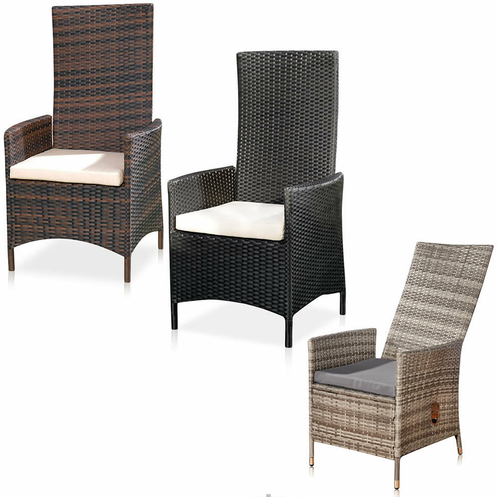polyrattan garten hochlehner relaxsessel stuhlverstellbar gartenm bel sitzm bel ebay. Black Bedroom Furniture Sets. Home Design Ideas