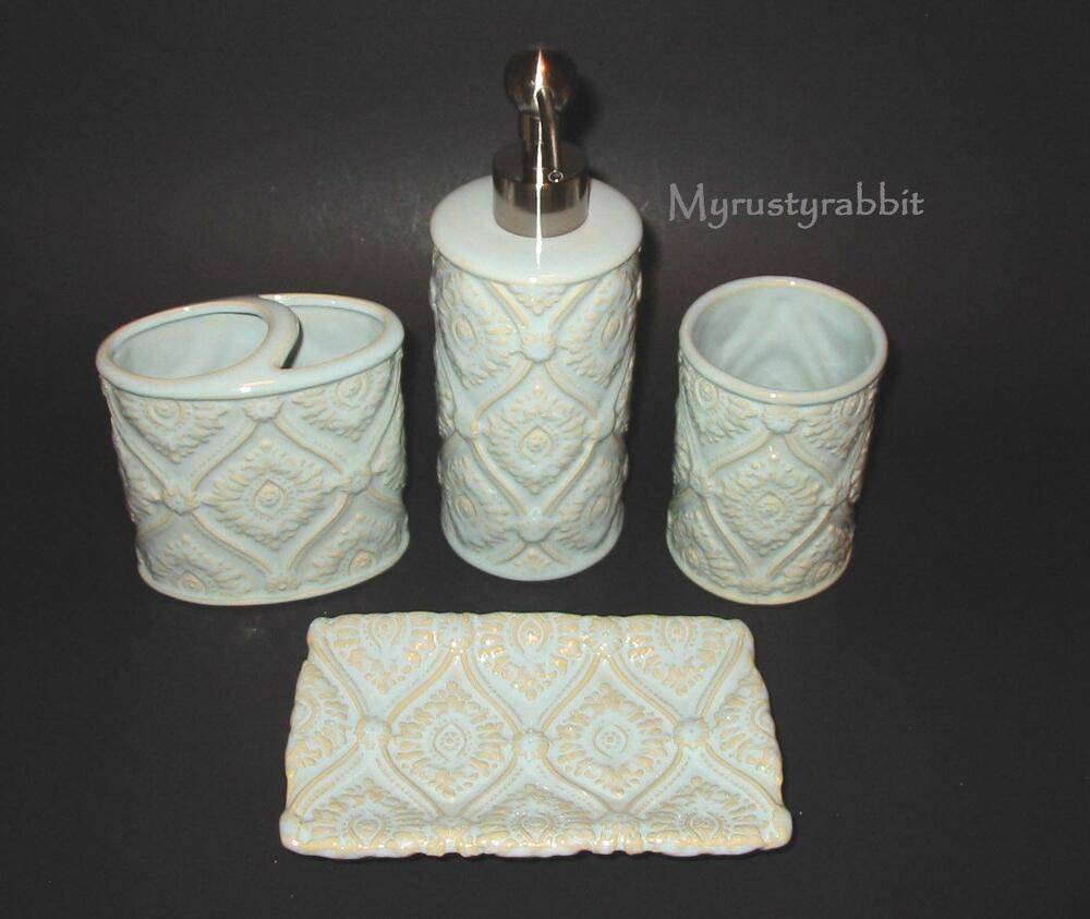 Cynthia rowley bathroom accessory set 4 pc pottery for Cream bathroom accessories set