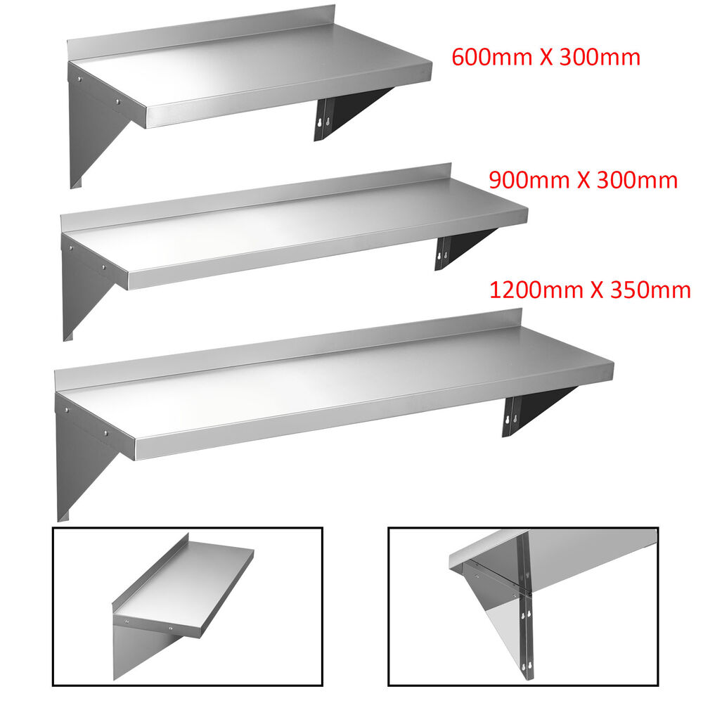 600 900 1200mm Commercial Stainless Steel Wall Shelf Kitchen Shelves W Brackets Ebay