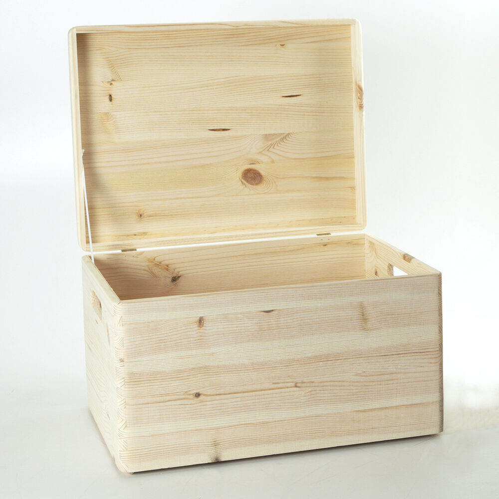 holzfee holzkiste 40 x 30 x 24 aufbewahrungsbox deckel holz kiste holzbox kiefer ebay. Black Bedroom Furniture Sets. Home Design Ideas