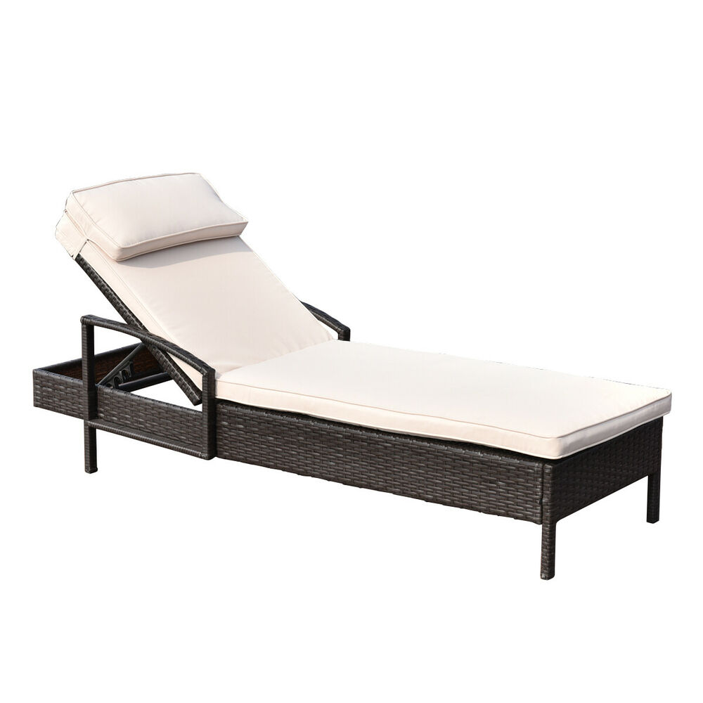 chaise lounge chair brown outdoor wicker rattan couch patio furniture w pillow ebay. Black Bedroom Furniture Sets. Home Design Ideas
