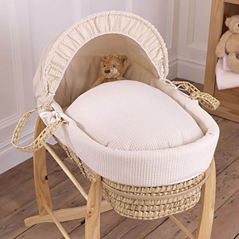 NEW CLAIR DE LUNE CREAM WAFFLE PALM UNISEX BABY MOSES ...