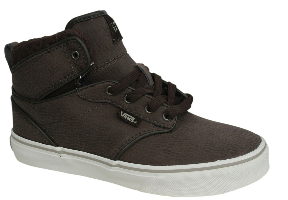 8582de9b16 Vans Off The Atwood Hi Lace Up Brown Leather Kids High Top Trainers VH1GJ2  D127